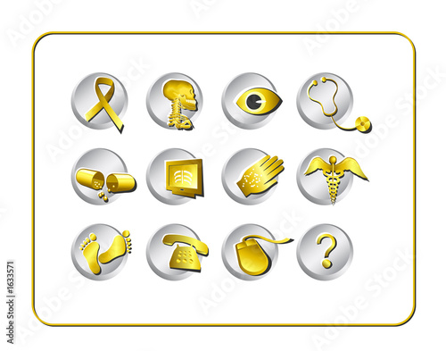 medical & pharmacy icon set - golden 2