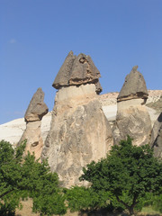 fairy chimney rock formations in cappadocia, turkey