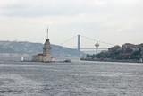 turkish view with bosporus bridge and tower of leandra (