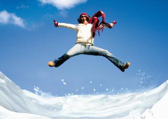fun jumping in winter