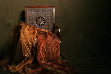antique chair with dramatic lighting