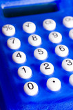 blue calculator with white numbers poster