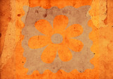 flower on an old scraped and spotted paper poster