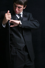 man searching his tux