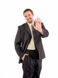businessman high five poster