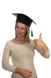 young girl with bachelor cap poster