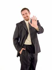 businessman high five