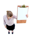 downcast woman with clipboard poster