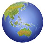 earth showing australia, new zealand, asia and the poster