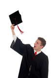 young man tossing up his hat on graduation day poster