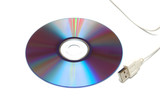 blank cd-dvd disk and white usb cable poster