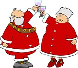 santa & mrs claus offering a toast poster