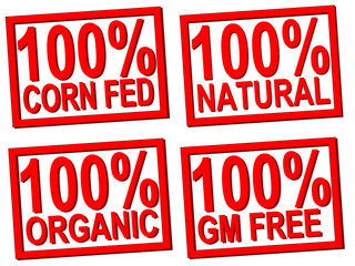 100% organic, natural, gm free stamps