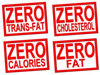 zero trans-fat, cholesterol, fat, calorie