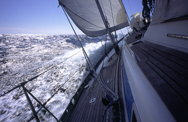 yacht beating to windward in the mediterranean