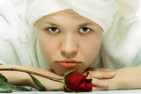 beauty girl in towel relaxing after shower poster