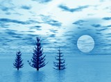 landscape with trio fir-trees poster