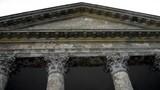 roman temple.columns.ancient construction.travel poster