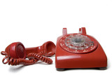 red rotary telephone poster