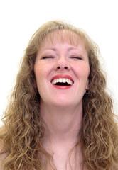 caucasian woman laughing.