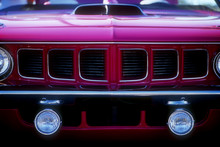 grille of purple muscle car