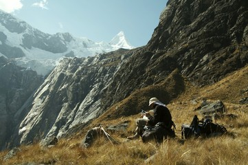 hiker in the cordilleras mountain