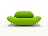 green sofa on white background  insulated 3d poster