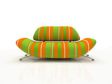 striped sofa on white background  insulated 3d poster