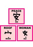 chinese words - peace is one woman under  a roof poster