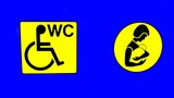 wc for disabled & baby changing room sign.toilet poster