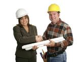 female engineer & contractor handshake poster