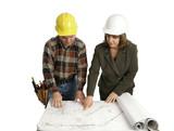 engineer & congractor review blueprints poster