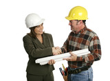 female architect meets contractor poster