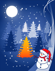 christmas illustration - snowball