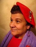 red hat society lady