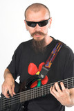 musician bass player with five string electric dou poster