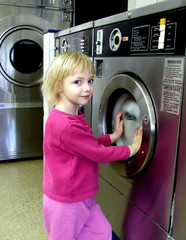 girl at the laundromat