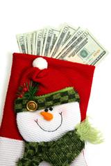 vertical snowman money sock
