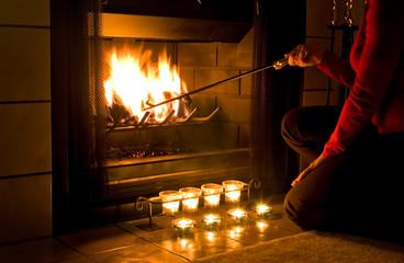 romantic fireplace