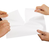 tearing sheet of paper strongly poster