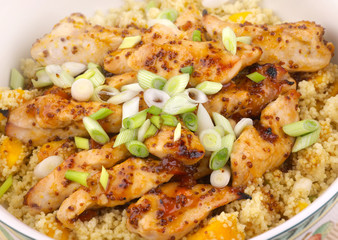 sticky chicken with mango couscous