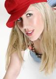 female in red cap poster