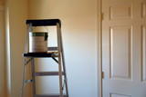 ladder with paint can and brush poster