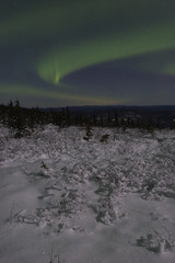 winter night landscape with northern lights