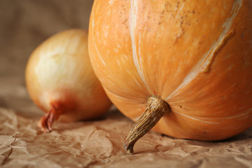 pumpkin and onion close-up