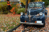 vintage pickup truck in fall