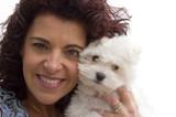 woman and bichon dog poster