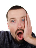 shocked young short-haired man poster