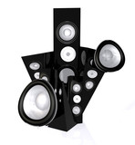 abstract speakers in black poster