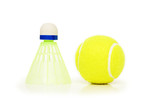 shuttlecock and tennis ball isolated on white